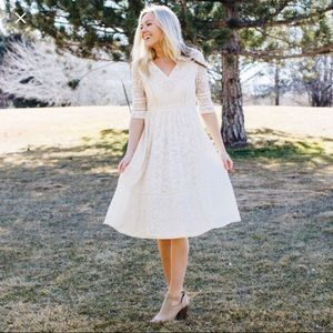 Bella Ivory Lace Midi Dress Called to Surf